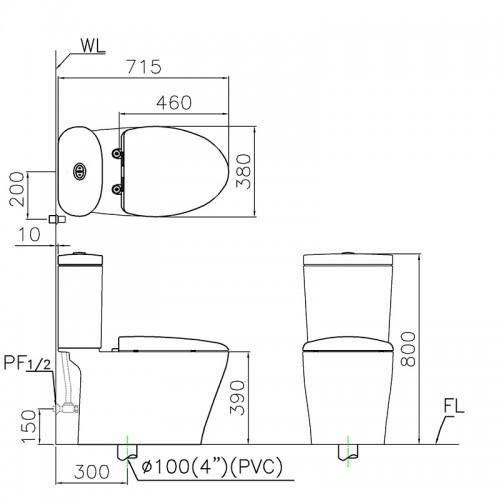 Bồn cầu Caesar CD1348 nắp TAF050 - Vật tư giá rẻ