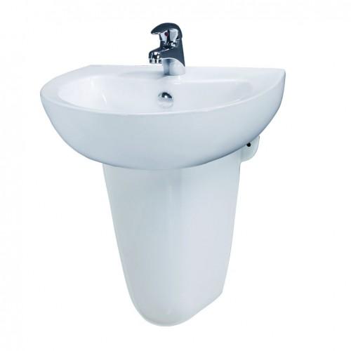 Chậu rửa lavabo Caesar L2152 kèm chân lửng P2443 chính hãng - Vật tư giá rẻ